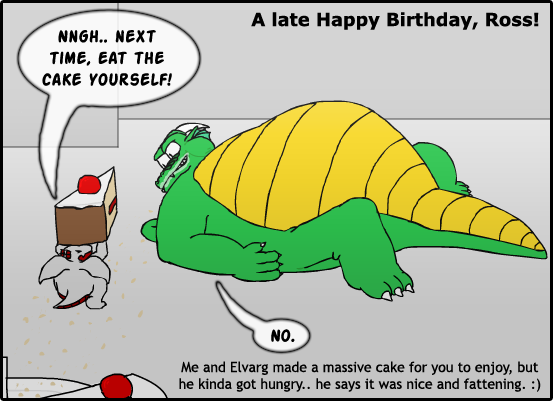 REQUEST - Ross' Birthday Cake by The-Fat-Red-Dragon