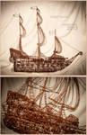 Pirate Ship - copper wire (wire art)