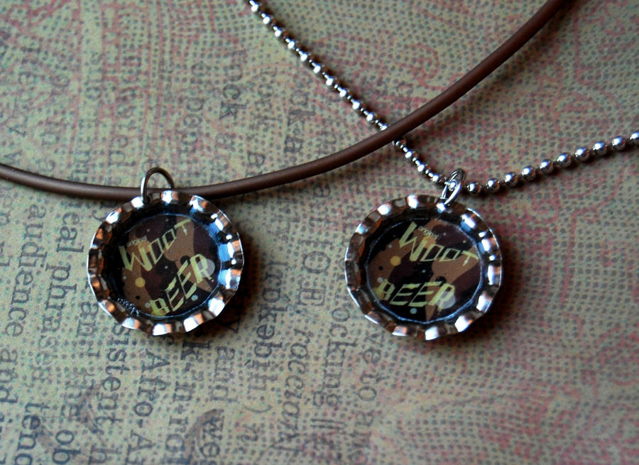 W00t beer bottle cap necklace by ocularfracture on deviantart for Beer cap jewelry
