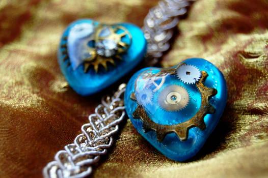Steampunk Blue Gold Hearts