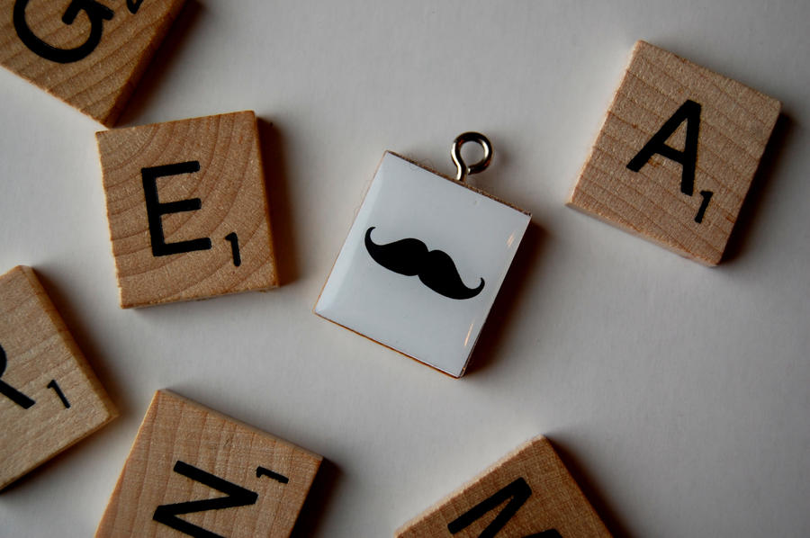 Gentleman Mustache Scrabble Necklace by OcularFracture