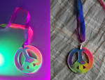 Rainbow Tie Dye UV Peace Necklace