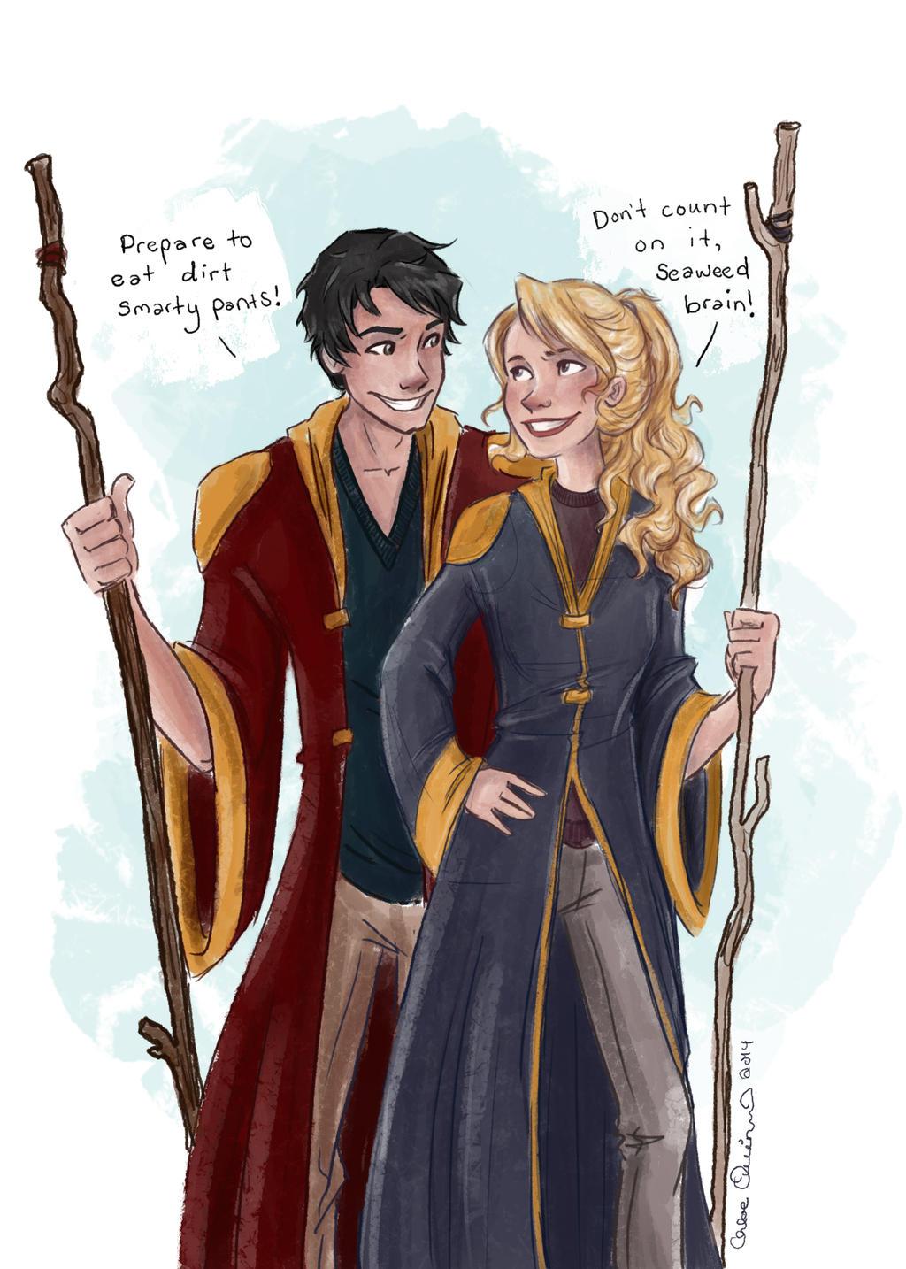 Percy and Annabeth go to Hogwarts by Hellomynameisbasil on