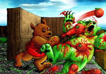 Alien Beaver Tomato Fight by gabdiel