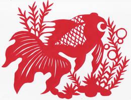 Chinese Cut-Paper Goldfish by scarletkitsune