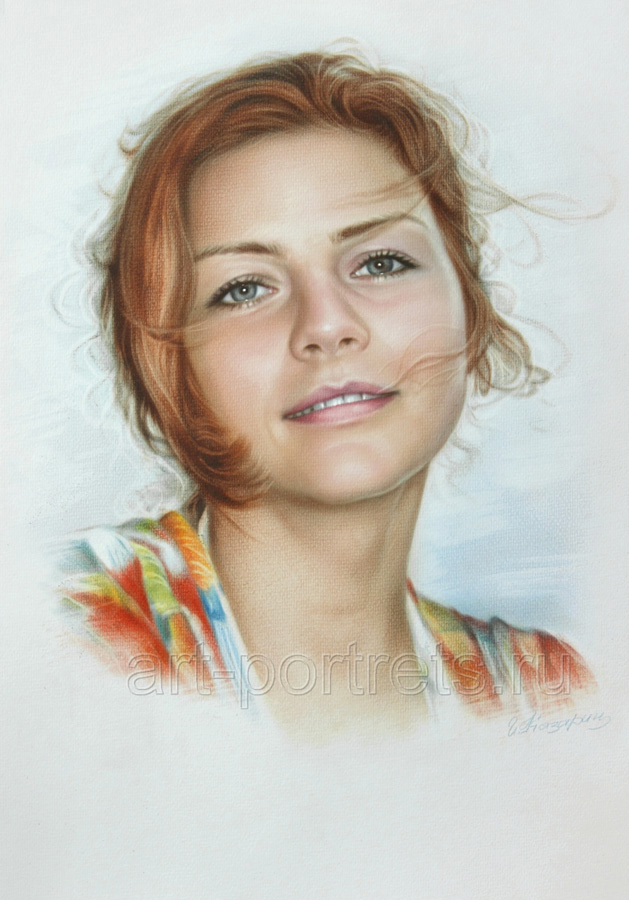 Simple portrait of a beautiful girl by dry brush by for Basic portrait painting