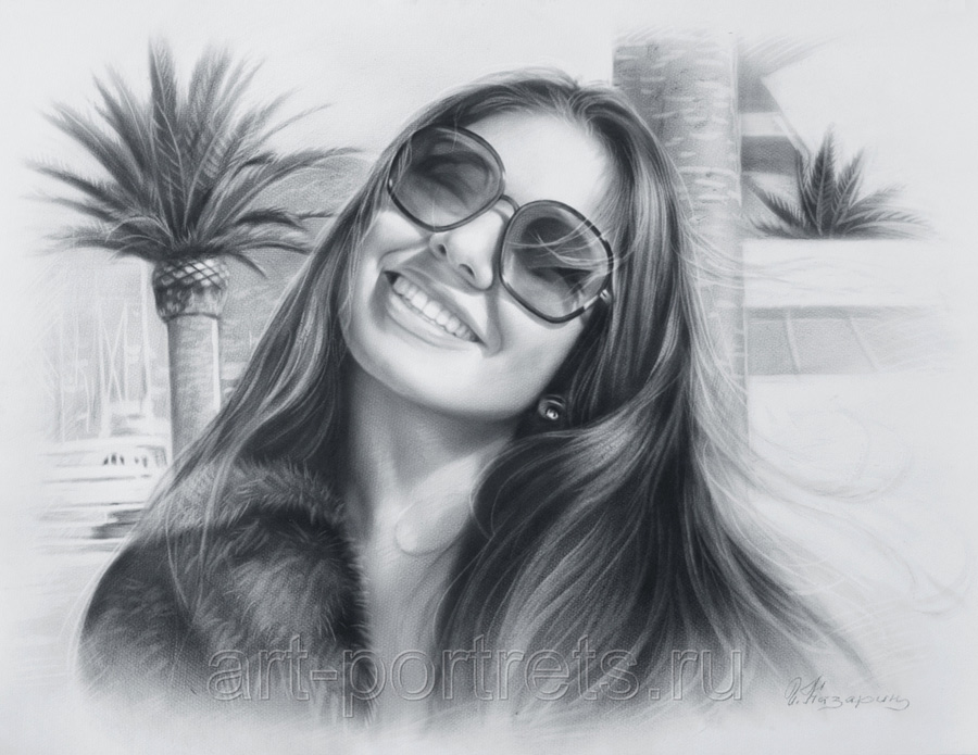 Black and white portrait of a girl in sunglasses by Drawing-Portraits
