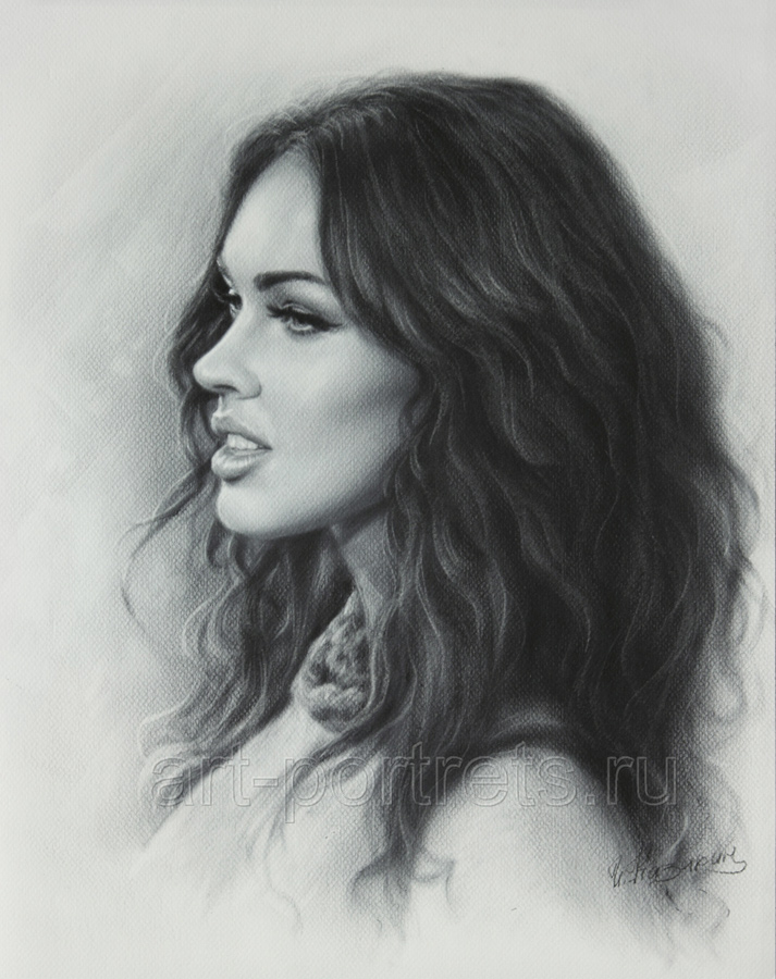 Portrait drawing megan fox by dry brush by drawing portraits