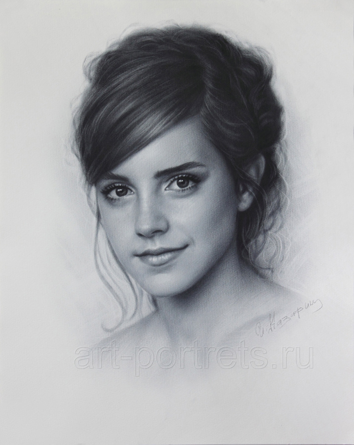 Emma watson drawing portrait by dry brush by drawing portraits