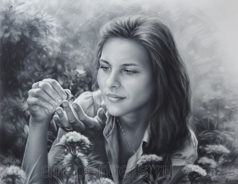 Drawing of a girl with butterfly by Dry Brush
