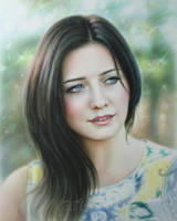 Portrait Drawing of beautiful girl by Dry Brush by Drawing-Portraits