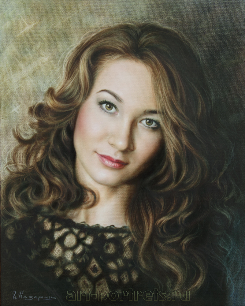 color portrait of a girl by dry brush by drawingportraits