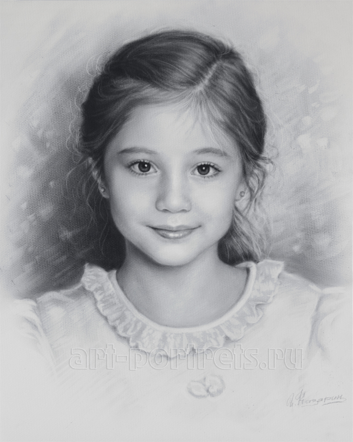 Child portrait little girl by dry brush by drawing portraits