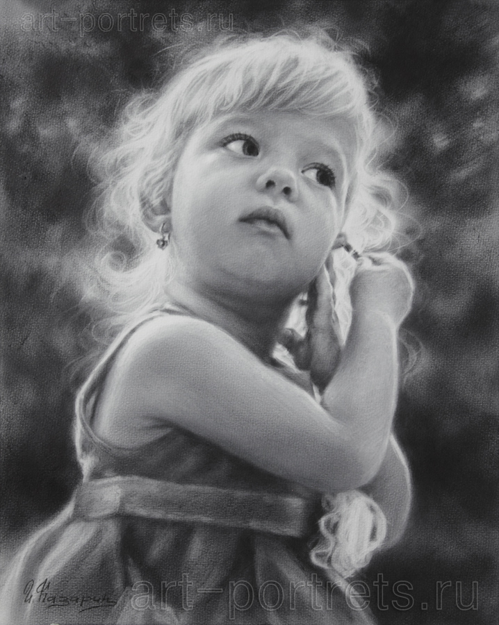Black and white portrait drawing little girl by drawing portraits