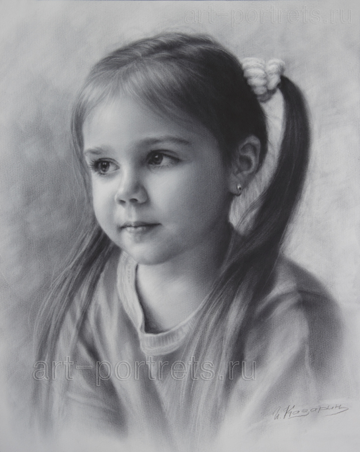 Child portrait little girl drawing by dry brush by drawing portraits