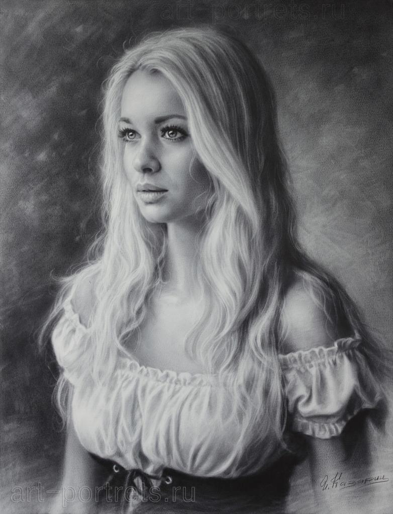 portrait of beauty in a beautiful dress 2015 by drawing