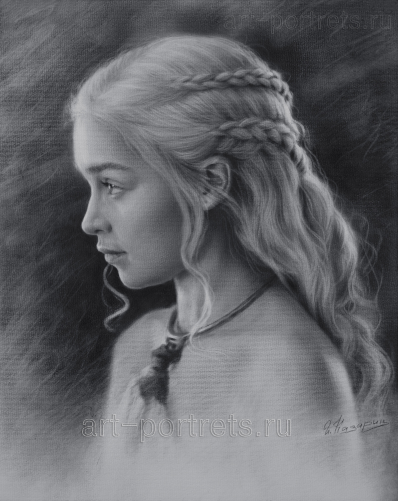 Black and white drawing Profile Emilia Clarke. 201 by Drawing-Portraits