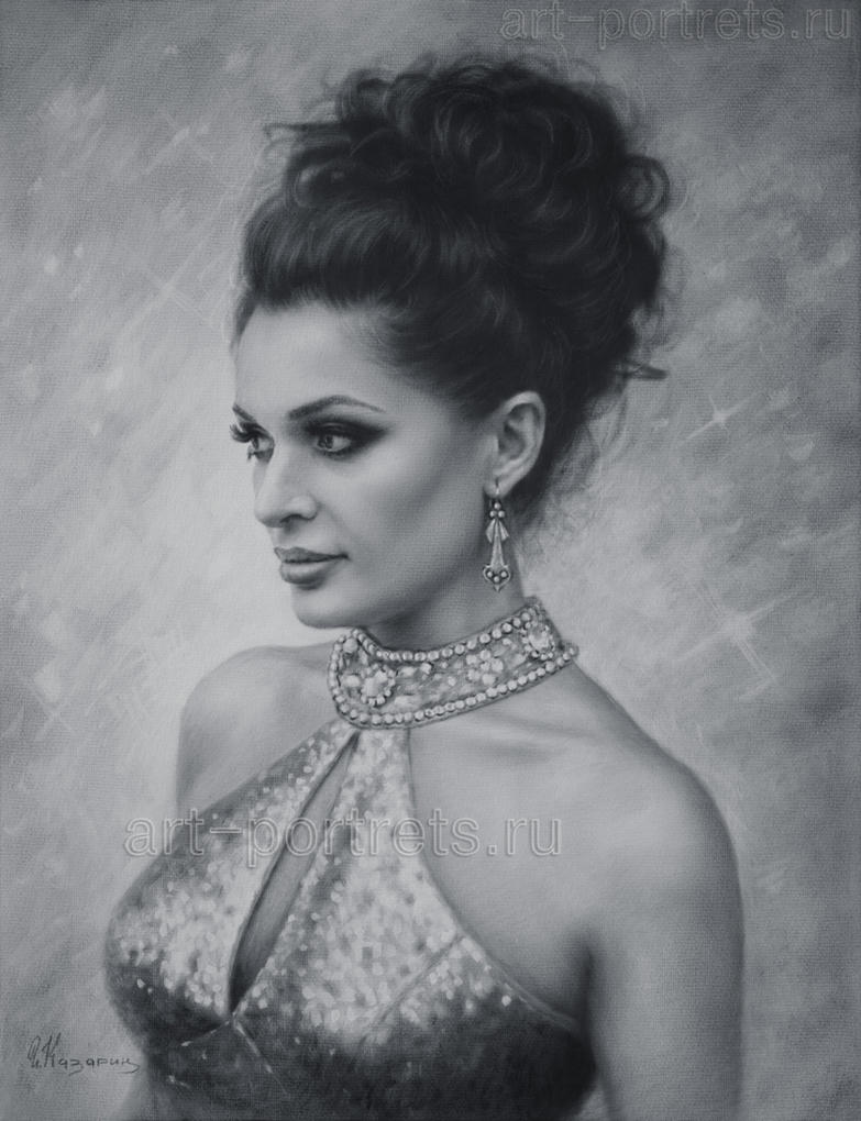Drawing portrait of a beautiful lady by Dry Brush by Drawing-Portraits