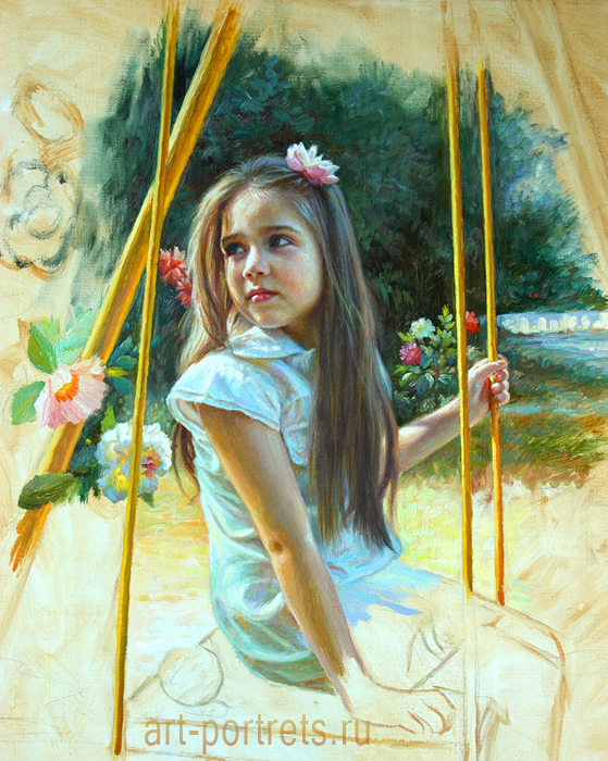 painting little girl on a swing by drawing portraits on deviantart