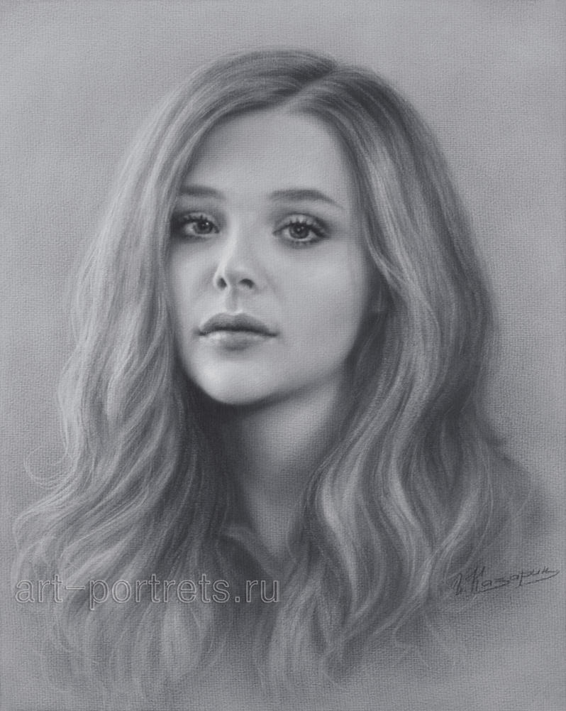 Chloe Grace Moretz Drawing Portrait by Dry Brush by Drawing-Portraits