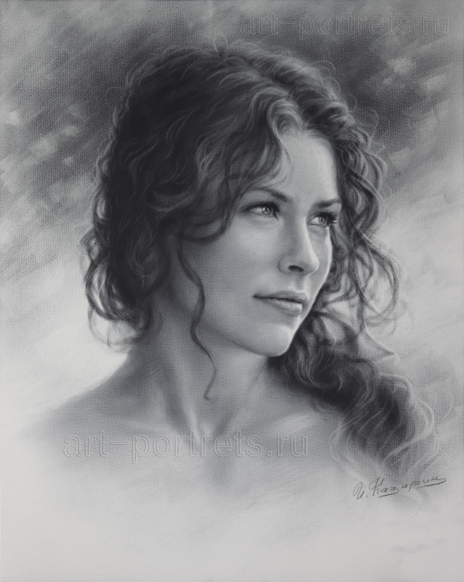 Painting Of Beautiful Laughing Face In Black And White
