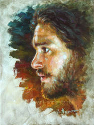 Kit Harington Portrait Painting by Drawing-Portraits