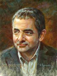 Rowan Atkinson Portrait Painting. Mr Bean by Drawing-Portraits