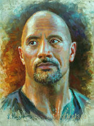 Dwayne Johnson Painting. The Rock by Drawing-Portraits