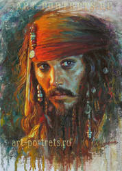 Johnny Depp Painting. Jack Sparrow by Drawing-Portraits