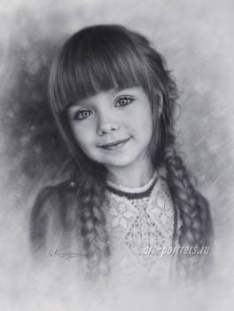 Drawing of young and beautiful Anastasia Knyazeva