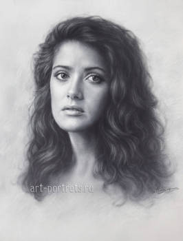 Young Salma hayek drawing