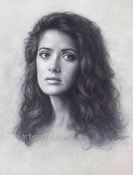 Young Salma hayek drawing