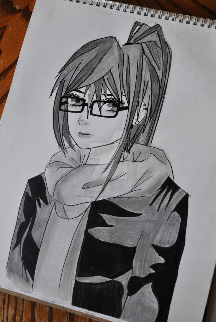 Anime girl with glasses by penspencilsartistry