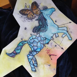 Geometry horse and butterfly