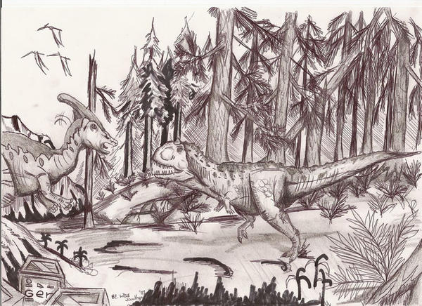 Carnotaurus vs Parasaurolophus by joker-kornstantine