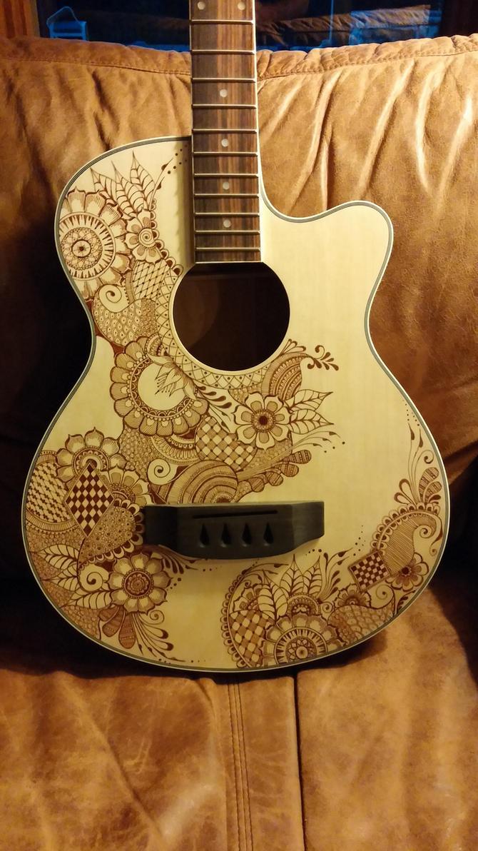bass guitar hand drawn henna style design by jlynch2000