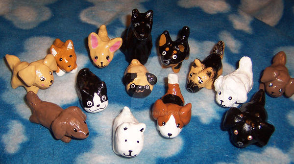 more clay dogs by JillyFoo