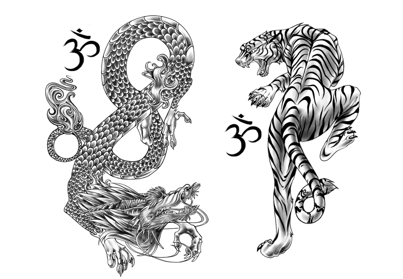 tiger and dragon by andoledius on deviantart. Black Bedroom Furniture Sets. Home Design Ideas