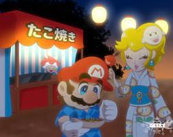 Mario and Peach at summer festival