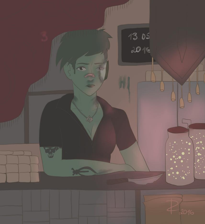 Drawcember 3 - dark, shopkeeper, bloody by PoliMollyKari