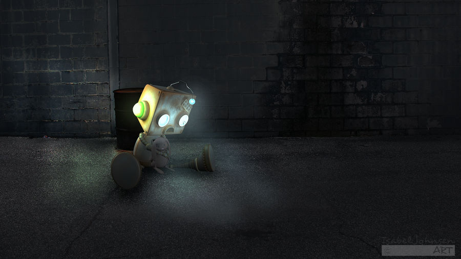The Robot with the stuffed Rabbit