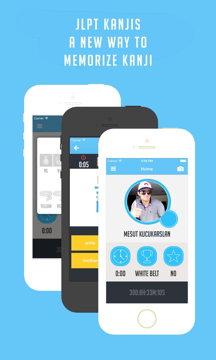 JLPT Kanjis - iPhone Kanji App Interface by uuryilmaz