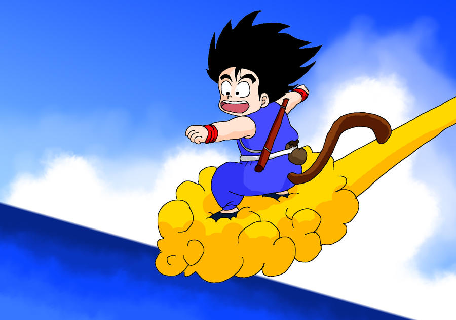 kid goku on flying - photo #1