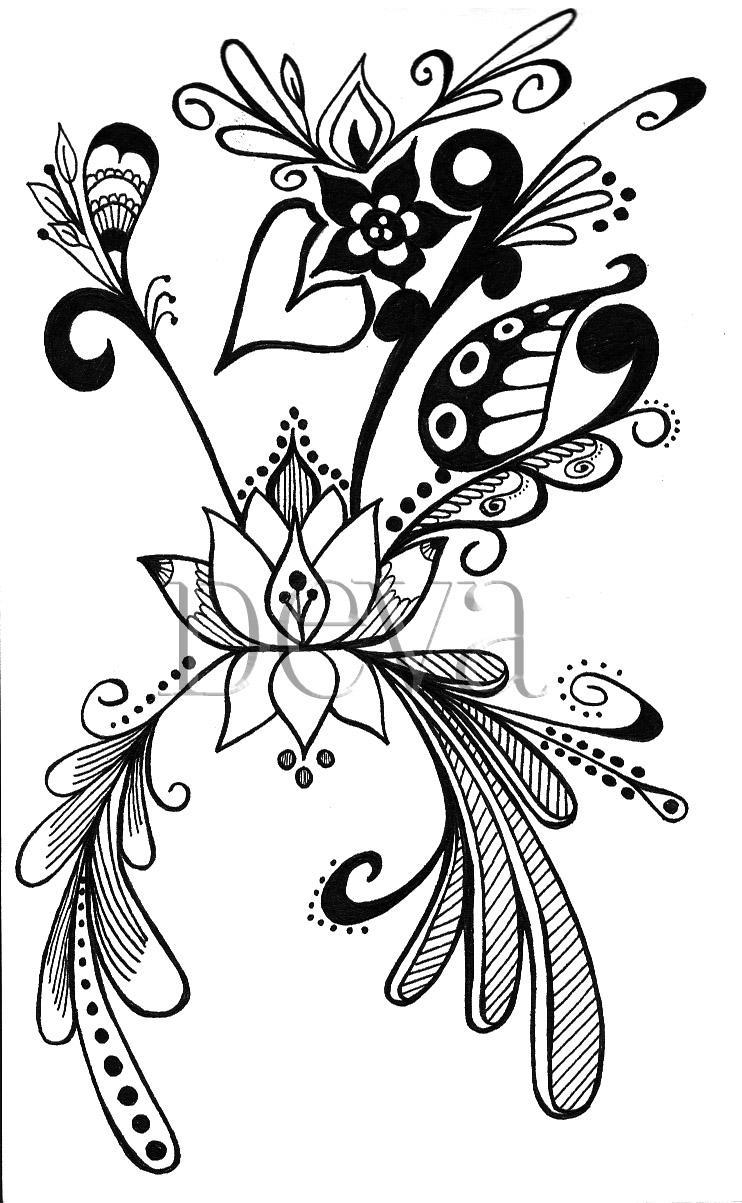 Flor de loto para colorear - Imagui