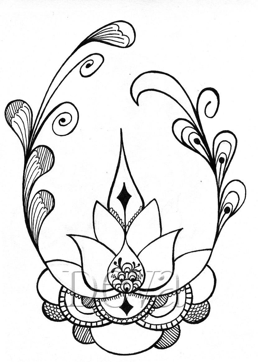 Vistoso Hoja De Loto Mandala Para Colorear Ilustración - Ideas Para ...