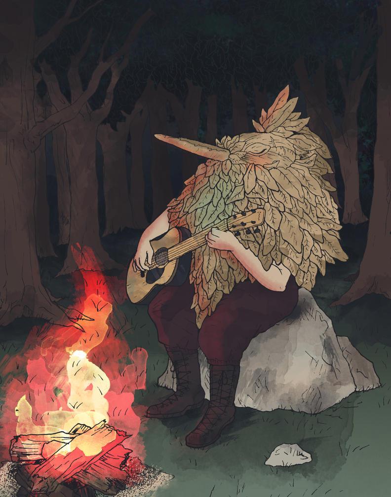 Campfire Bird Spirit by KealaMythrill