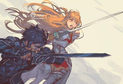 Asuna and Kirito by JettyJet