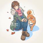 Winter jacket and Shiba Jetty