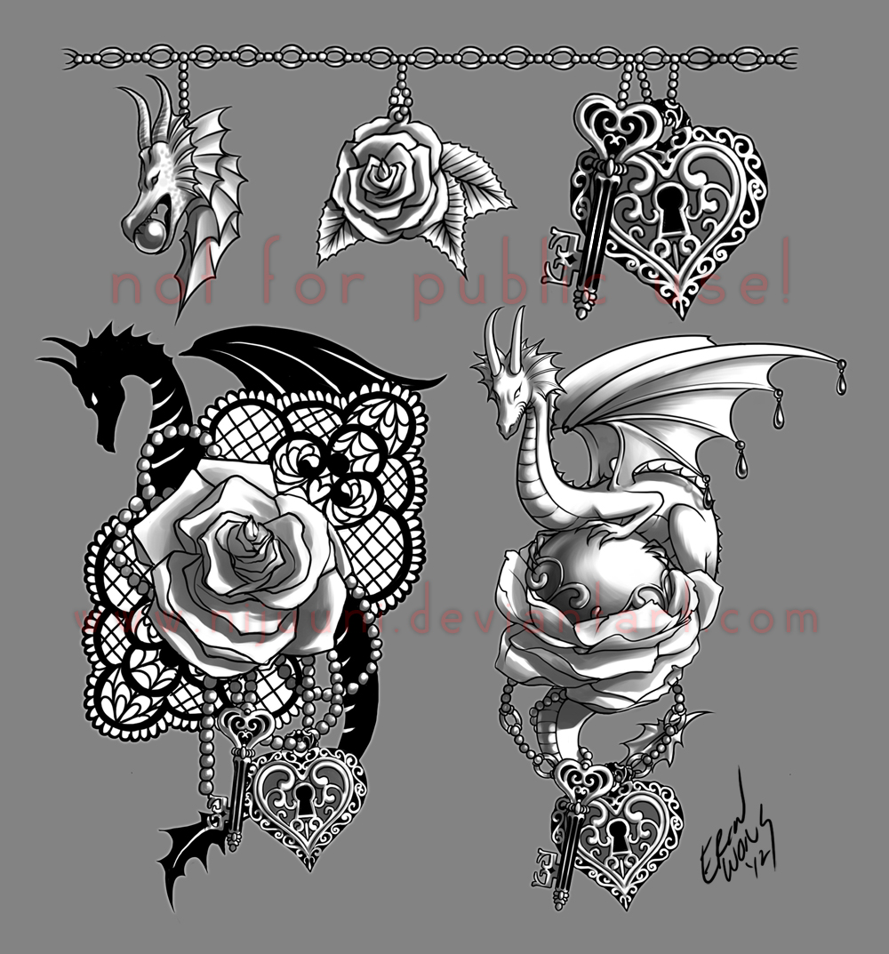 the dragon the rose the key by nijuuni on deviantart. Black Bedroom Furniture Sets. Home Design Ideas
