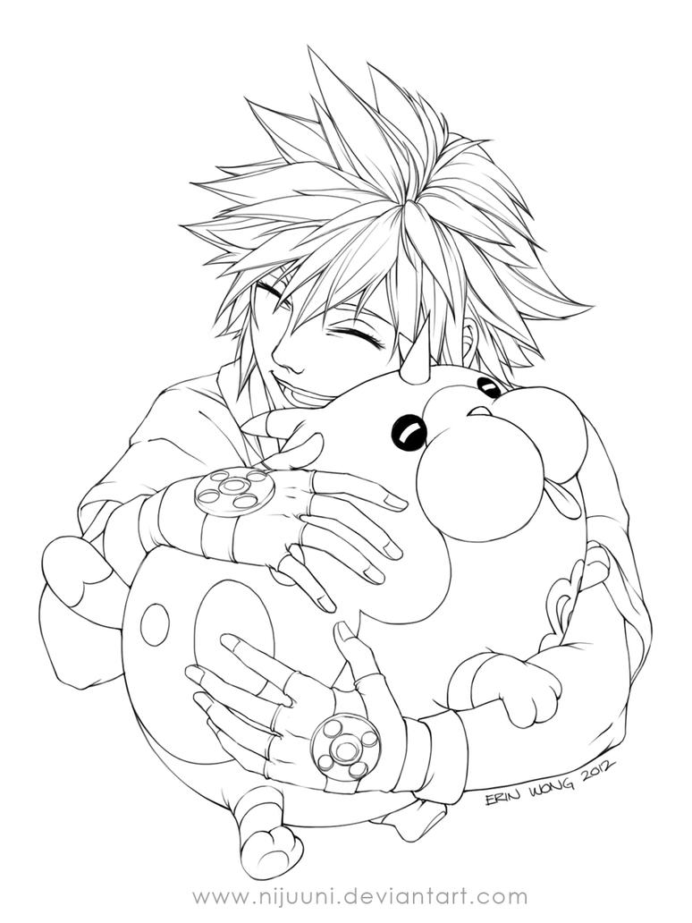 Sora Kingdom Hearts Lineart : Khddd sora s companion line art by nijuuni on deviantart